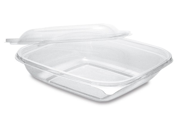 PLA Salatschale mit Deckel, quadratisch 960 ml, klar