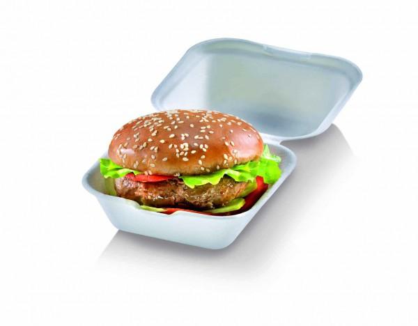 Burger Box groß mit Klappdeckel, 13,5 x 13,5 x 7,8 cm, natur