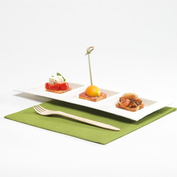 Zuckerrohr Teller 11 x 26 cm, 3-geteilt - Dedra