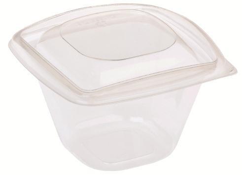 PLA Salatschale quadratisch 480 ml - mit Deckel