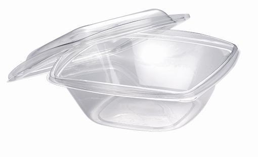 PLA Salatschale mit Deckel, quadratisch 720 ml, 19,2x19,2cm, 6,5cm tief