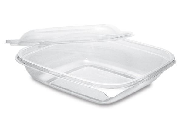 PLA Salatschale mit Deckel, quadratisch 360 ml, klar